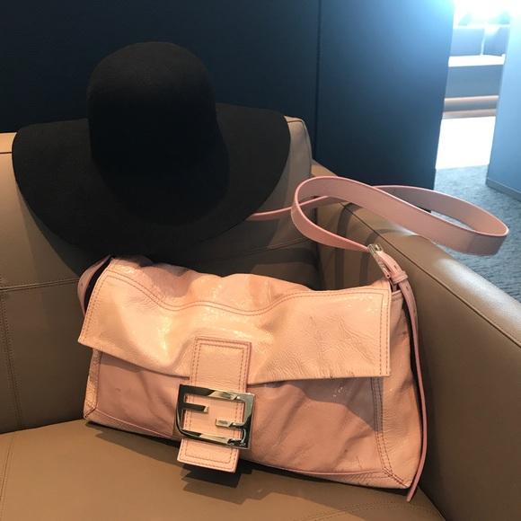Fendi Handbags - RARE FENDI Large Pink Patent Leather Baguette Bag